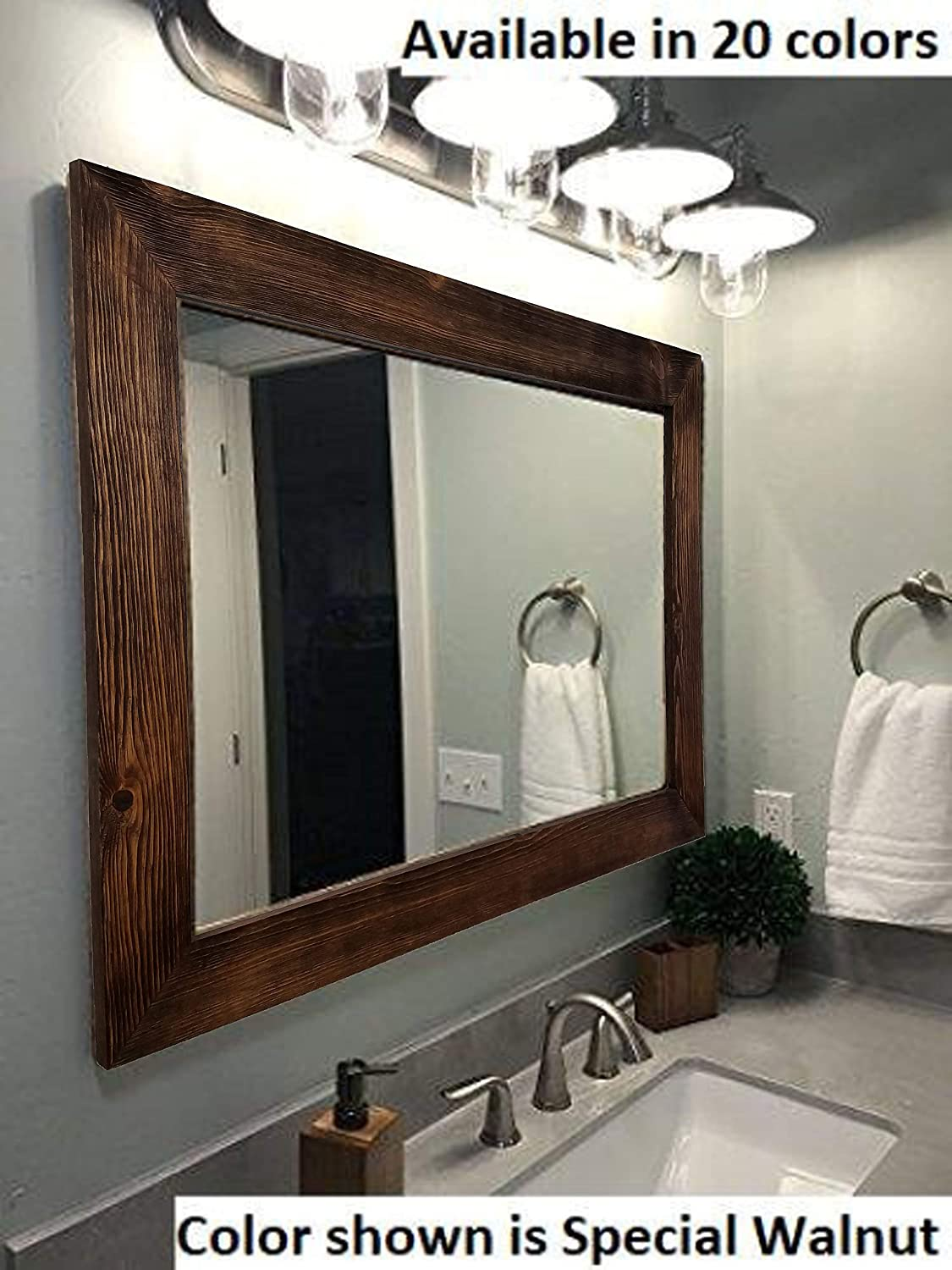 Admirable Shiplap Large Wood Framed Mirror Available In 4 Sizes And 20 Colors Shown In Special Walnut Stain Large Wall Mirror Rustic Barnwood Style Interior Design Ideas Gentotryabchikinfo