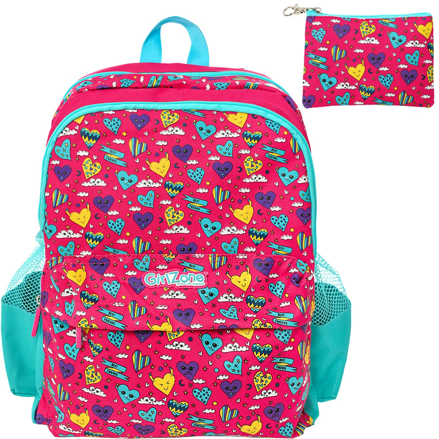 BACKPACK FOR GIRLS: Fun & Funky School Bag, Rucksack For Kids, Toddlers, Kindergarten. Birthday, Gifts, Presents For Girls Age 3 4 5 6 7 8 9 10. (Pink Pink)