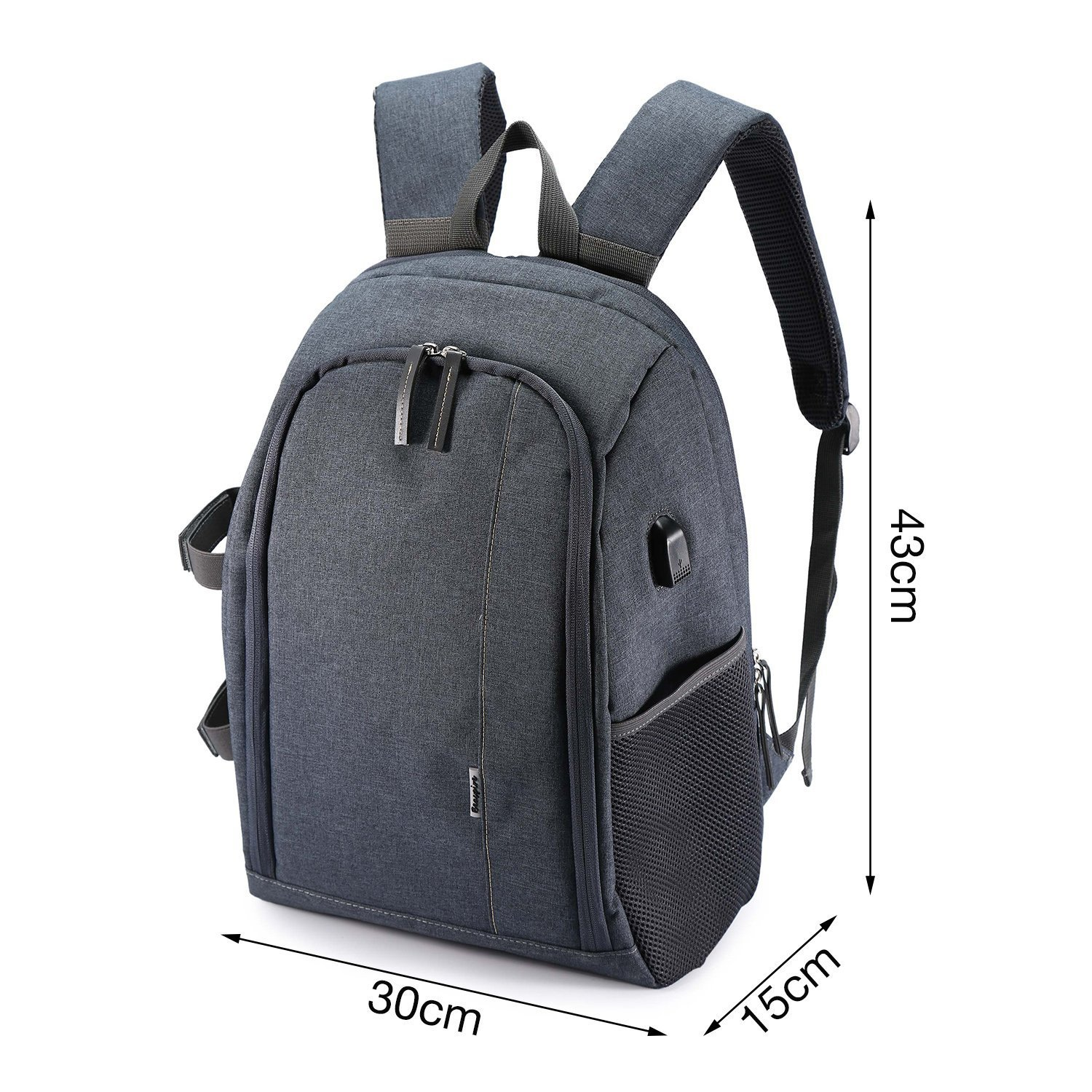 Camera Backpack Waterproof Nylon DSLR Backpack Professional Camera Bag with USB External Charging Port for Canon Nikon Sony Camera Accessories and Laptops Tablets Black (Gray) by Cozyvie (Image #1)