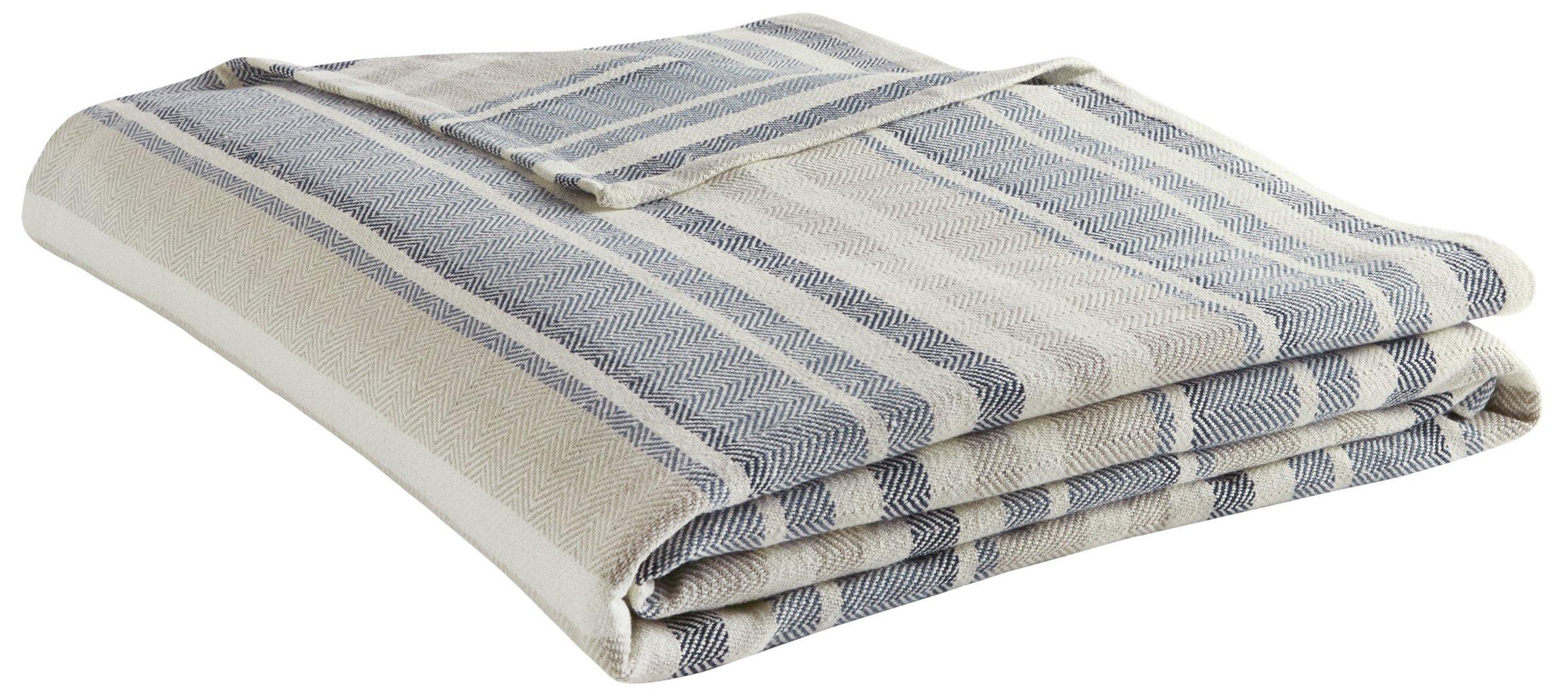 Eddie Bauer 213124 Herringbone Blanket, King, Blue Stripe - King size 90x108 100% Cotton Hemmed on all four sides - blankets-throws, bedroom-sheets-comforters, bedroom - 81RE2CjJBDL -