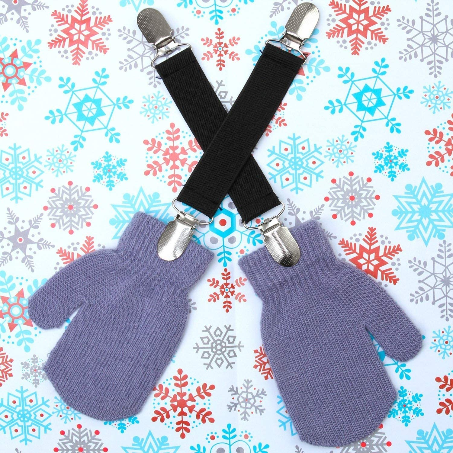 Resinta 6 Pieces Kids Mitten Clips Stainless Steel Elastic Mitten and Glove Clips