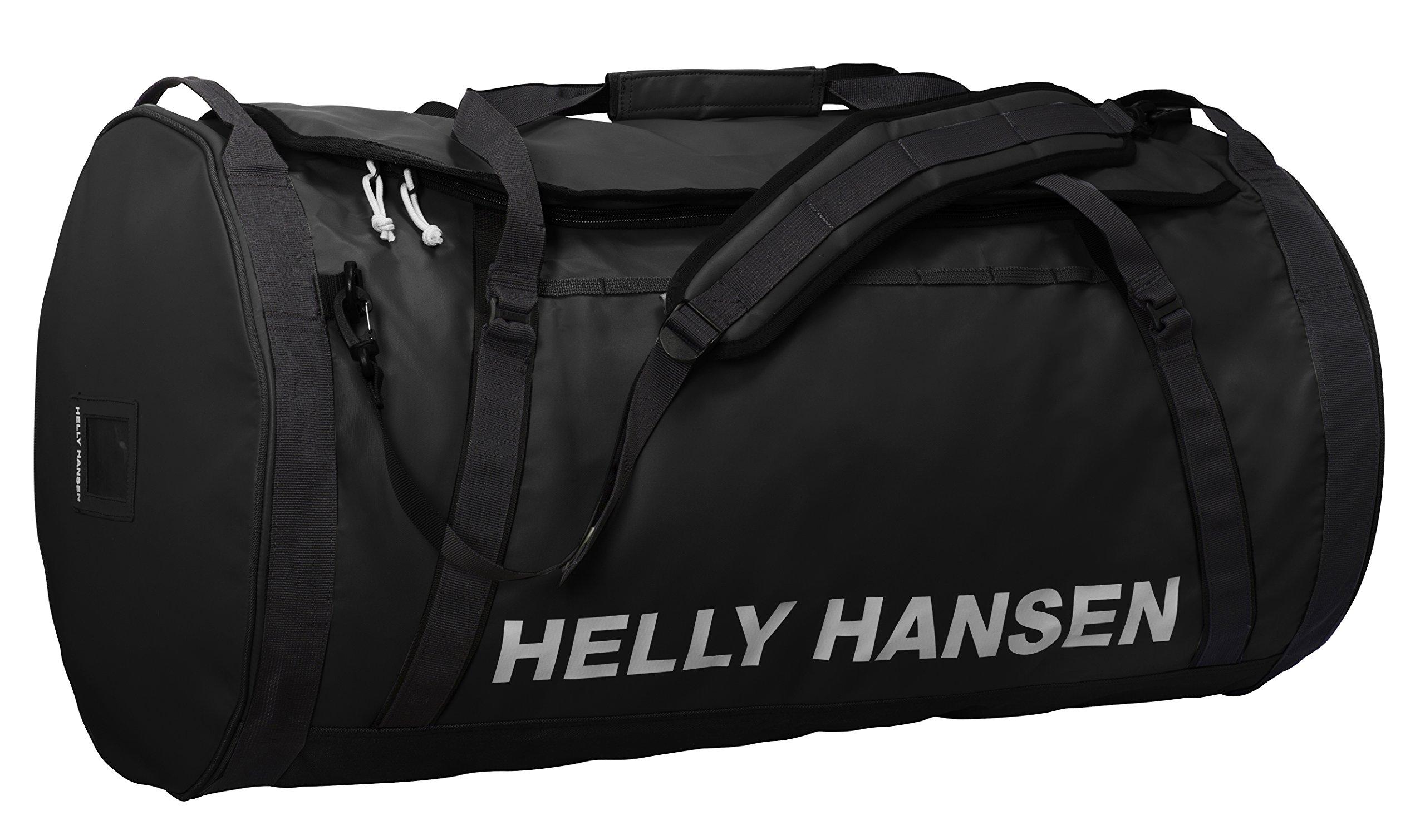 Helly Hansen Duffel 2 Water Resistant Packable Bag with Optional Backpack Straps, 50-liter (Medium), 990 Black