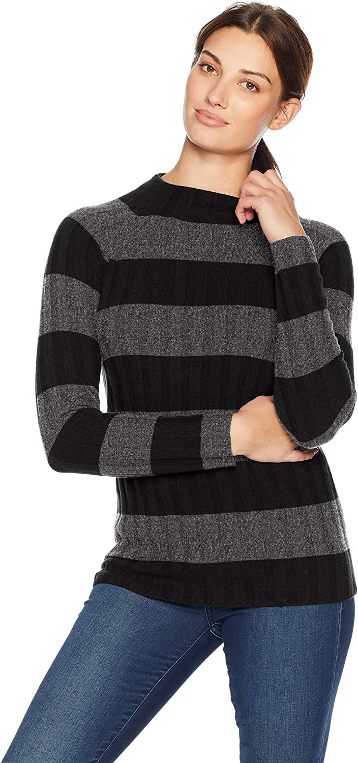 Amazon Brand - Lark & Ro Women's Sweaters Mock Neck Striped Cashmere Sweater