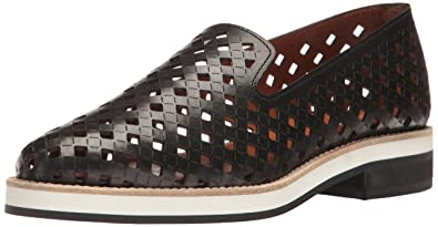 Aquatalia by Marvin K. Women's Zanna Perforated Calf Slip-on Loafer, Black,