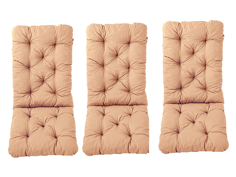 Ambientehome–Set di 3sdraio con cuscino, cuscino Hanko Maxi, ca 120x 50x 8cm, schienale ca 70cm, cuscino 90579