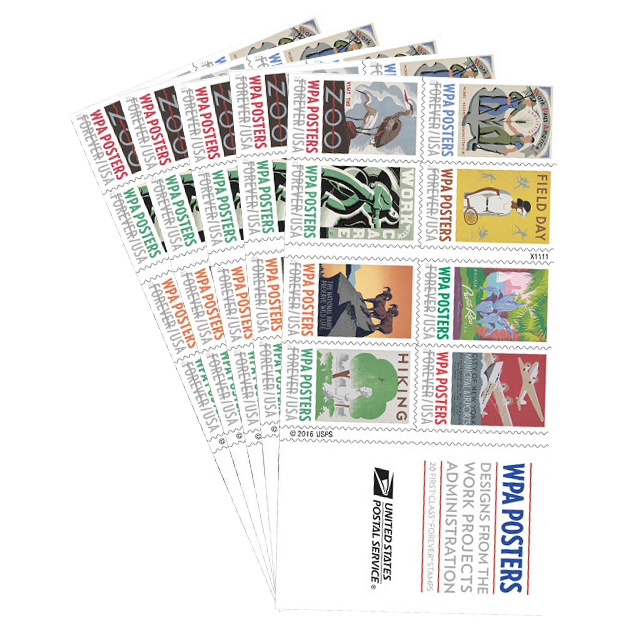 WPA Posters book of 20 Forever USPS Postage Stamp Work Projects Administration (5 books of 20 stamps)