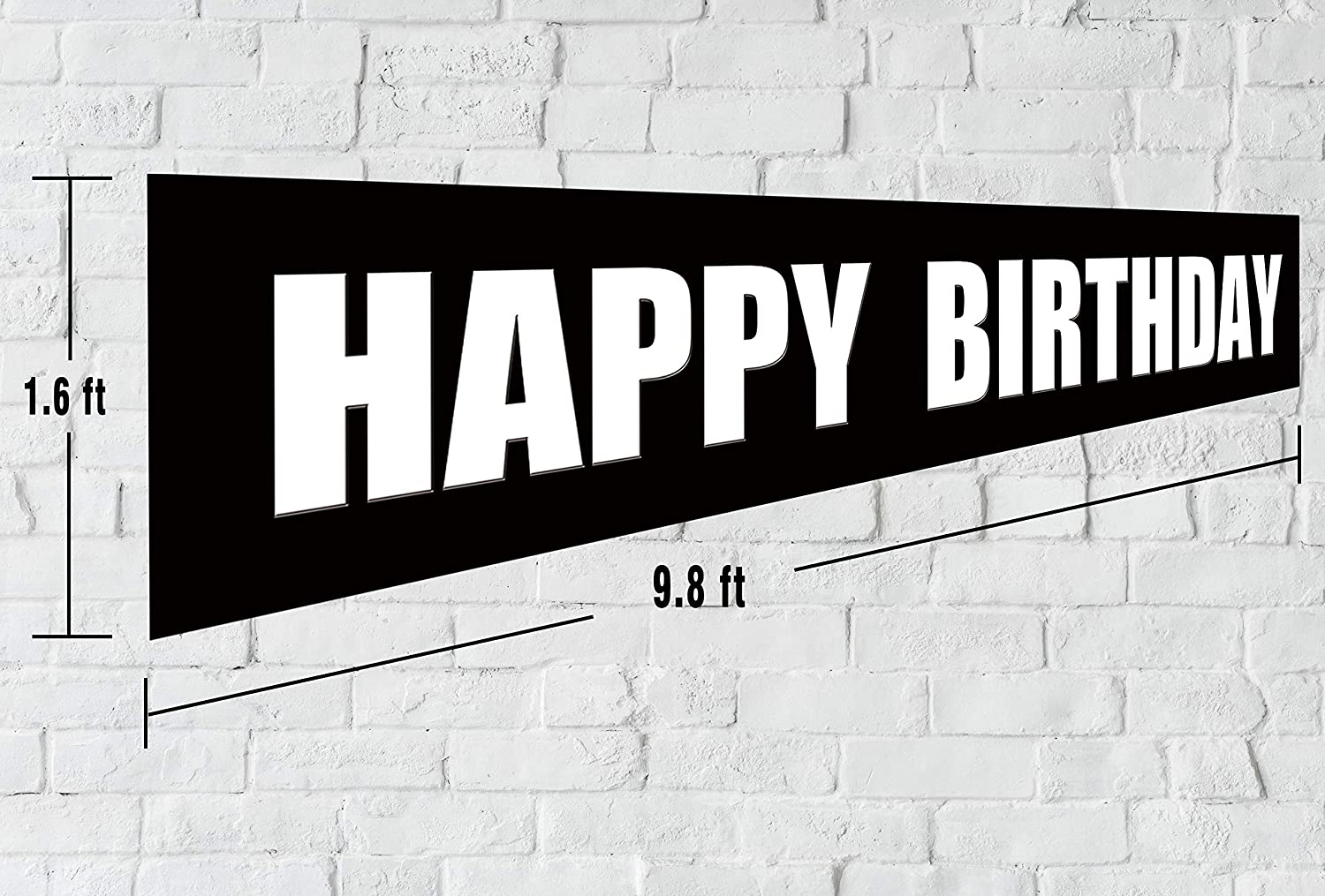 Huge Bday Sign Black White Happy Birthday Banner Large Hanging Party Decorations Supplies
