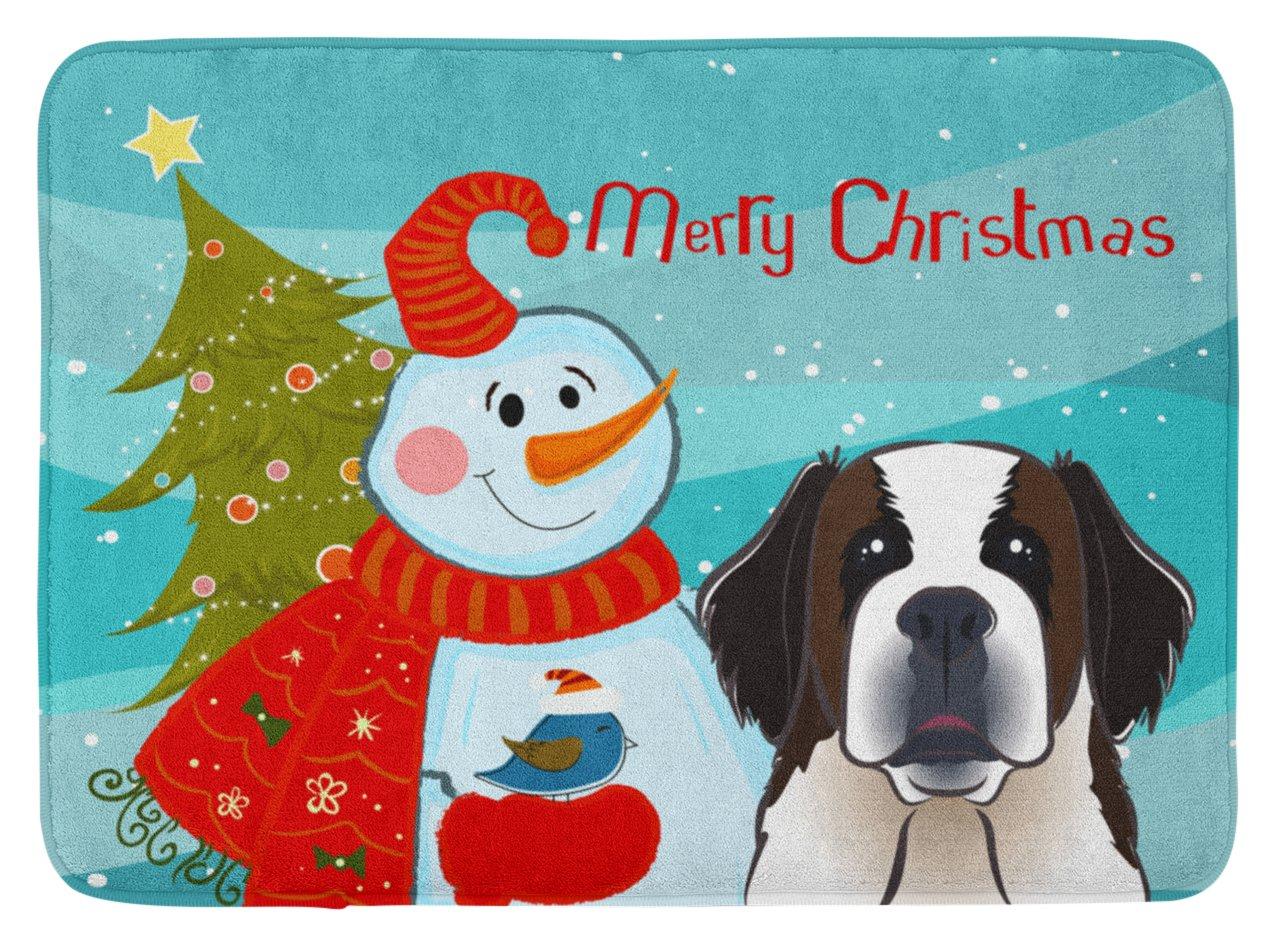 Carolines Treasures Snowman with Saint Bernard Floor Mat 19 x 27 Multicolor