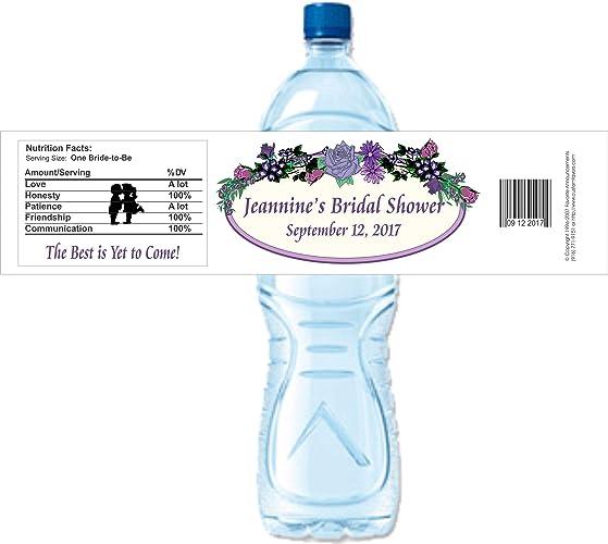 Amazon com: Bridal Shower Water Bottle Labels, Personalized