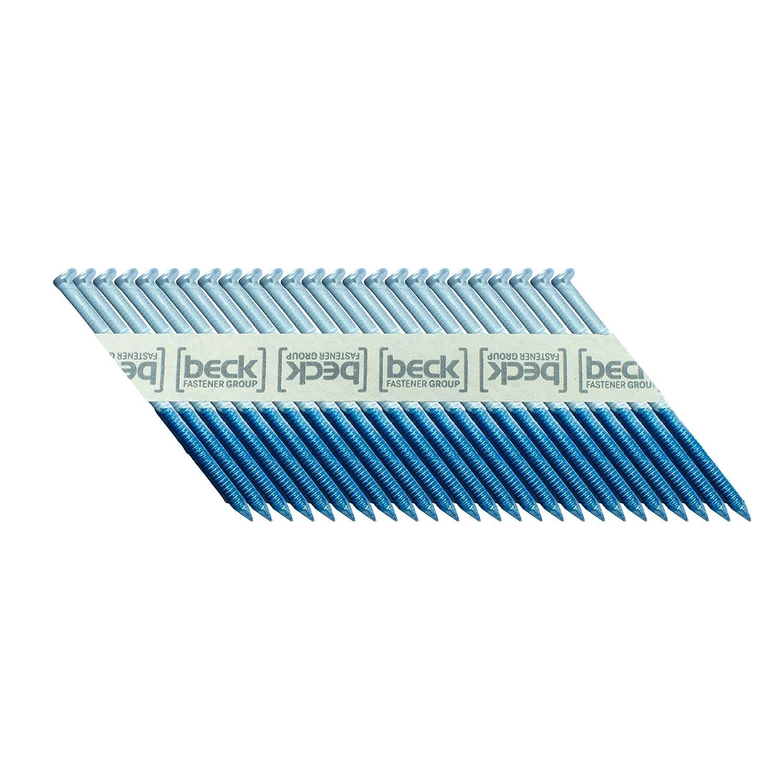 BECK FASTENER GROUP 34° Papierstreifennägel 2, 9x75mm Ring-Schaft elektro-verzinkt 12µm CHN29/75mm/ring/12µm
