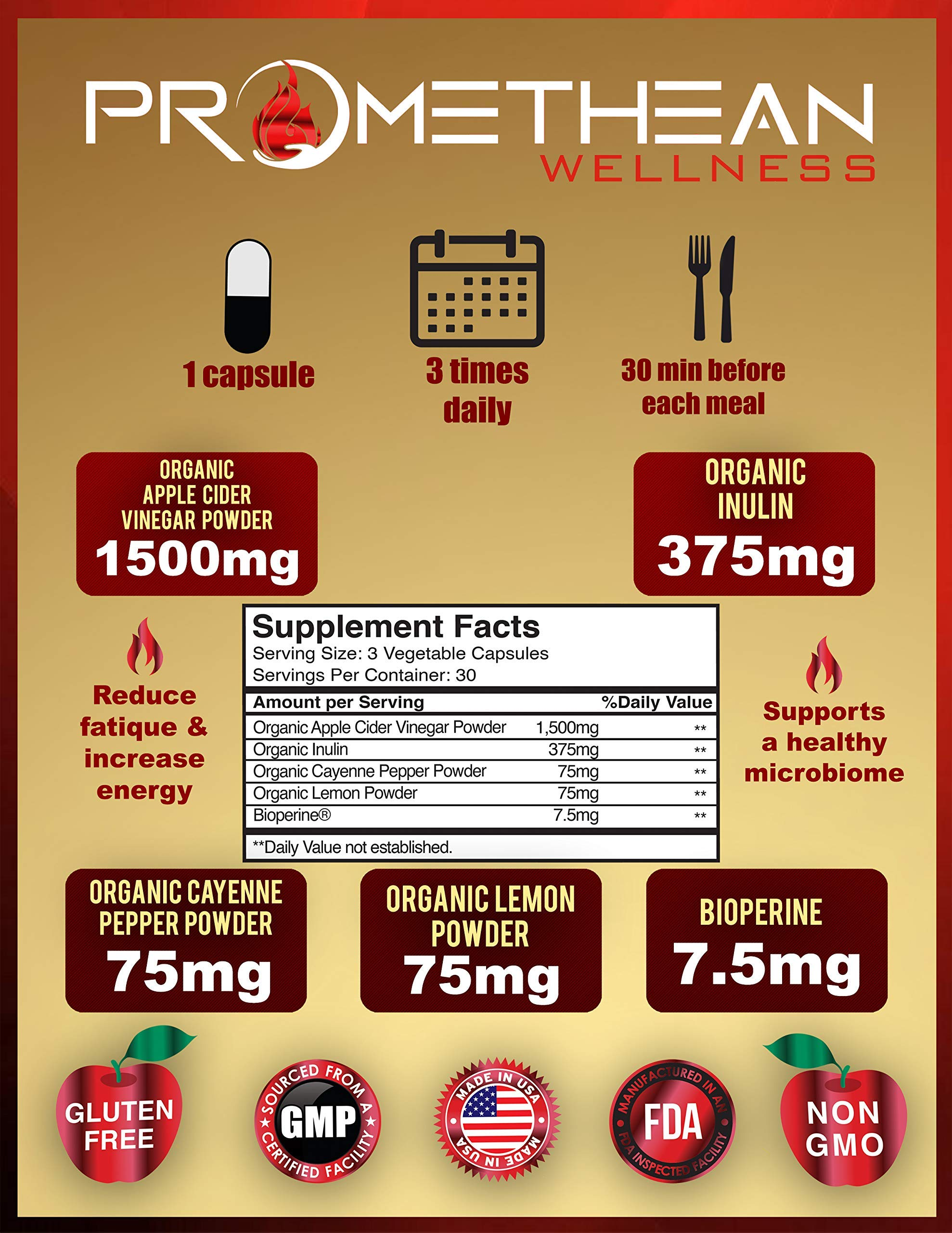 Organic Apple Cider Vinegar Capsules ACV PRO Diet Pills Detox Cleanse for Weight Loss Raw Unfiltered With Mother Powder Supplements Tablets Vitamins Cayenne Pepper Inulin Prebiotics Lemon 1500mg 90 ct by Promethean Wellness LLC (Image #2)