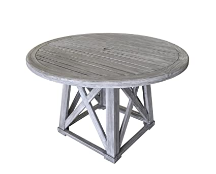 Courtyard Casual Driftwood Gray Teak Round Surf Side Outdoor Dining Table - Amazon.com: Courtyard Casual Driftwood Gray Teak Round Surf Side