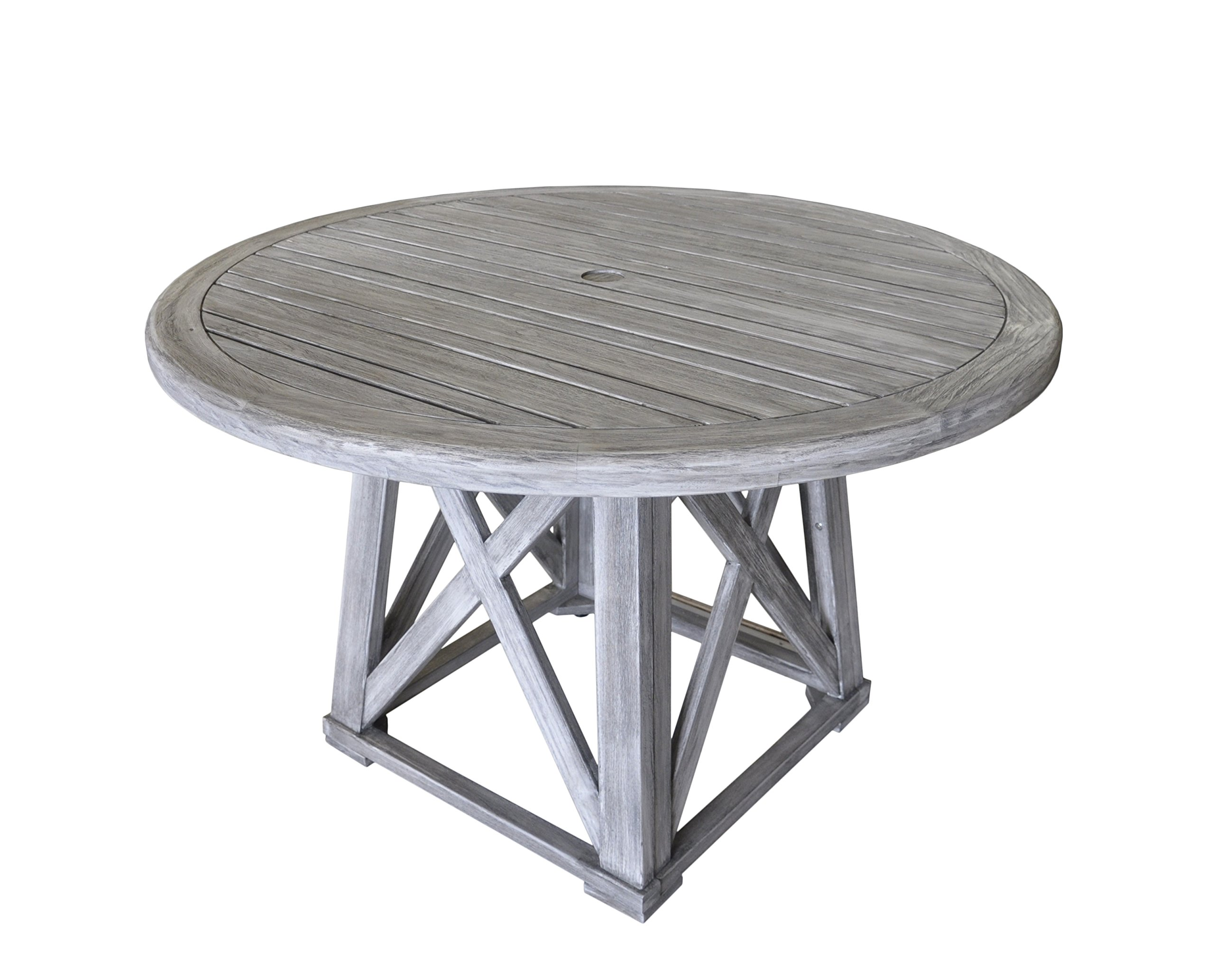 Courtyard Casual Driftwood Gray Teak Round Surf Side Outdoor Dining Table - Great for any outdoor setting: patio, covered patio, deck, fire pit, outdoor kitchen, Poolside, lanai, gazebo, etc. Fade and UV resistant and safe in full sun exposure. Driftwood gray stain applied for a more natural patina look - patio-tables, patio-furniture, patio - 81RE8we42VL -