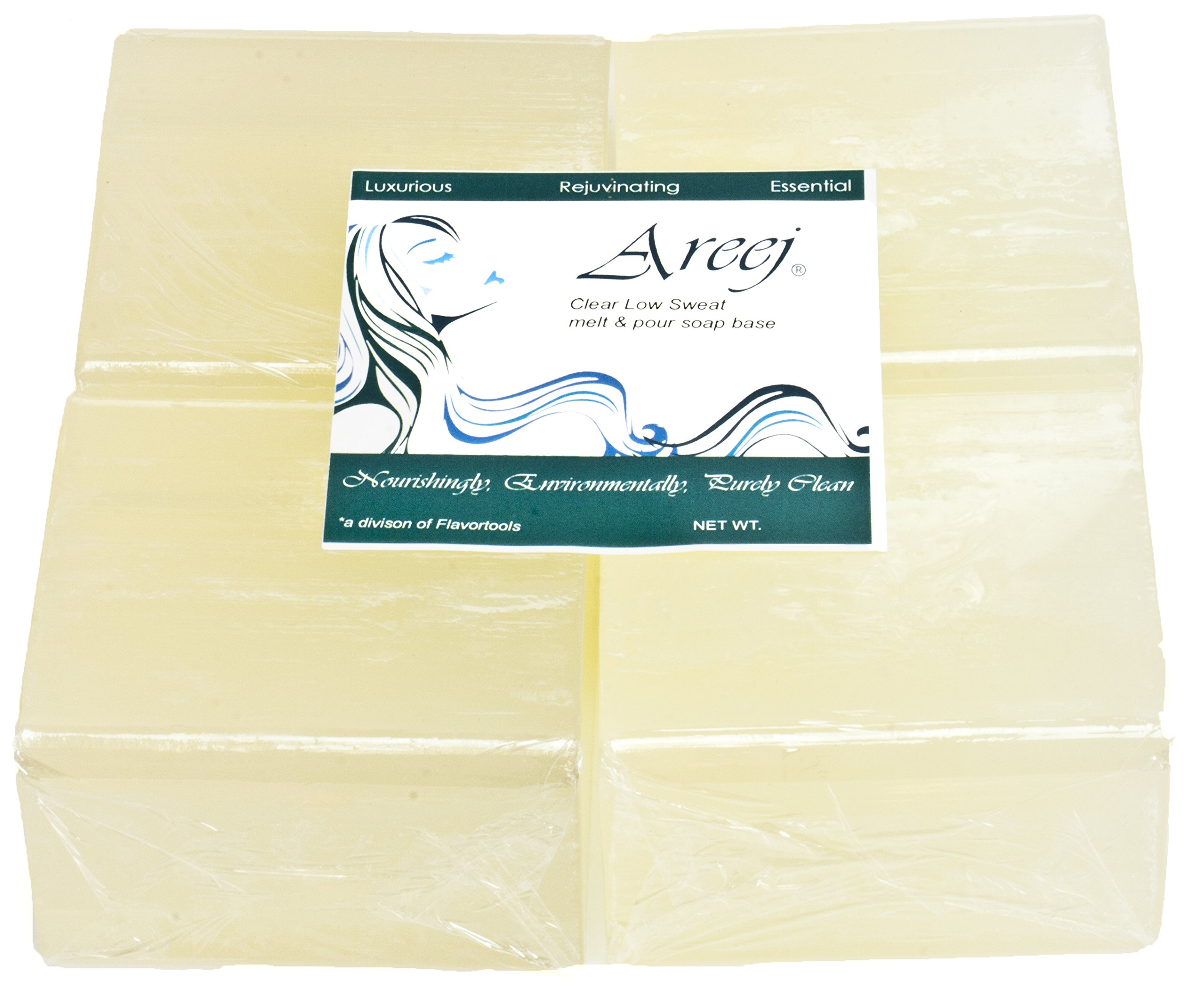 Areej Hypo-Allergenic Biodegradable Clear Low Sweat Soap Base made with 100% Pure Natural Glycerin - 10 Pounds