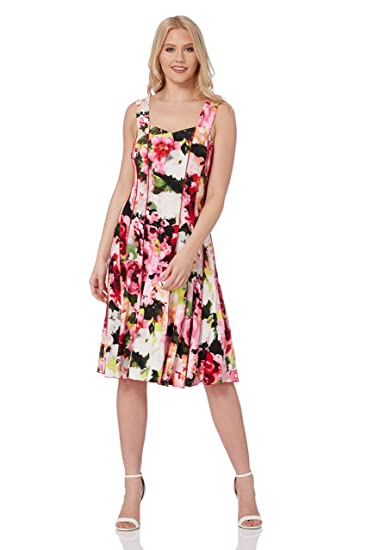 68671d7880 Roman Originals Women Fit and Flare Jacquard Floral Dress - Ladies  Sweetheart Sleeveless Knee Length Going Out Vintage Retro Summer Daytime  Dresses Pink