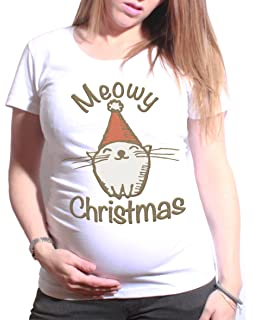 dac42dc6be Ladies Maternity T-Shirt Meowy Christmas Funny Cat Gift Womens Pregnancy Top
