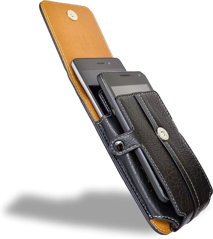 axelens Funda de simil Cuero con Clip de Cinturón Tiene una Capacidad de Dos teléfonos Moviles Libre Mosquetón Carcasa para móvil hasta 4.7 - Negro