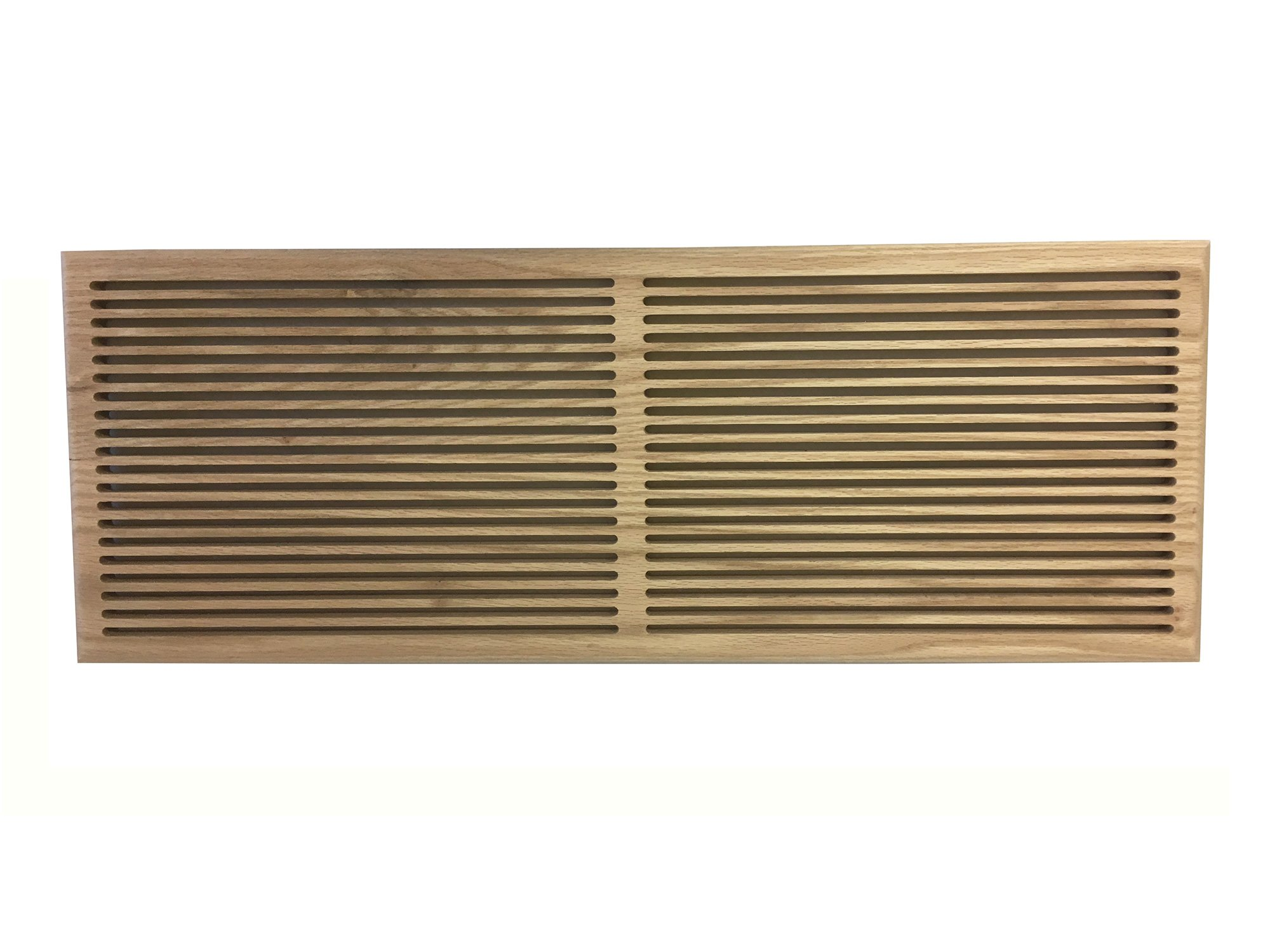 10 Inch x 24 Inch White Oak Hardwood Vent Floor Register Surface Mount, Slotted Style, Unfinished