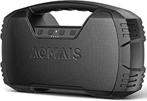 Portable Waterproof Bluetooth Speaker, AOMAIS 40-Hour Playtime Wireless Outdoor Speakers, 25W Rich Bass Impressive Sound, Stereo Pairing, Built-in Mic, 100ft Bluetooth for Home Party