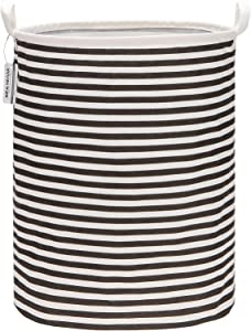 "Sea Team 19.7 Inches Large Sized Waterproof Coating Ramie Cotton Fabric Folding Laundry Hamper Bucket Cylindric Burlap Canvas Storage Basket (19.7"", Black & White Stripe)"