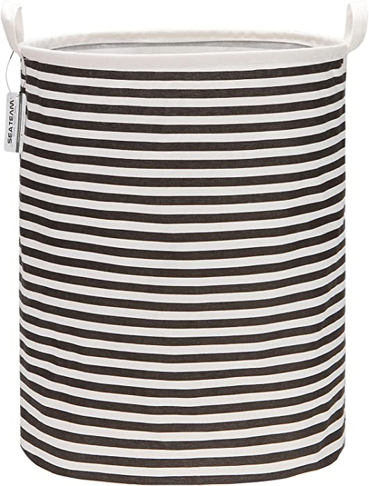"Sea Team 19.7 Inches Large Sized Waterproof Coating Ramie Cotton Fabric Folding Laundry Hamper Bucket Cylindric Burlap Canvas Storage Basket (19.7"", Black & White Stripe)"