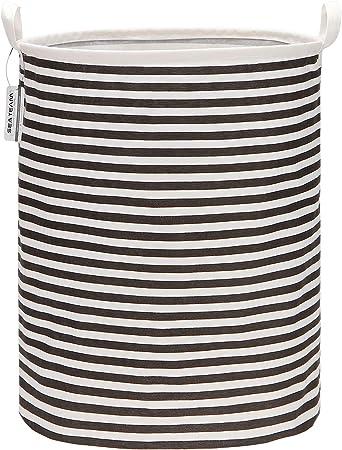 Equipo de mar de 19.7 pulgadas Recubrimiento impermeable de gran tamaño Tejido de algodón Ramie Plegable Cesto para la ropa Canasta de almacenamiento de lona de arpillera cilíndrica con elegante: Amazon.es: Hogar