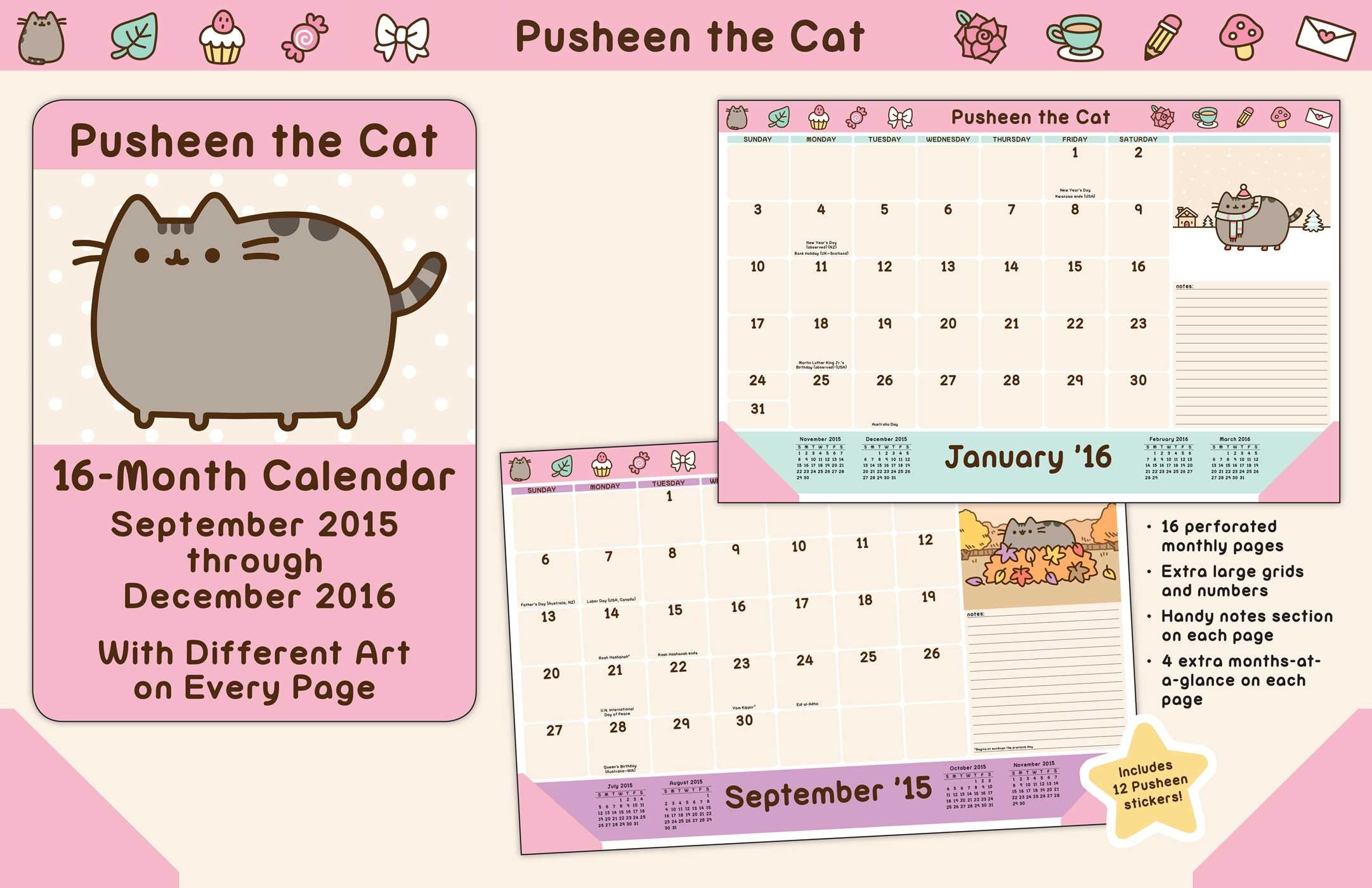 pusheen the cat 2015 2016 16 month desk pad calendar september 2015
