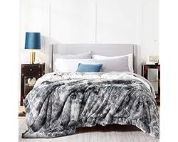 Bedsure Faux Fur King Size Blankets for Bed Grey - Tie-dye Fuzzy Fluffy Soft Plush Decorative Cozy Shaggy Shag Furry Warm Thi