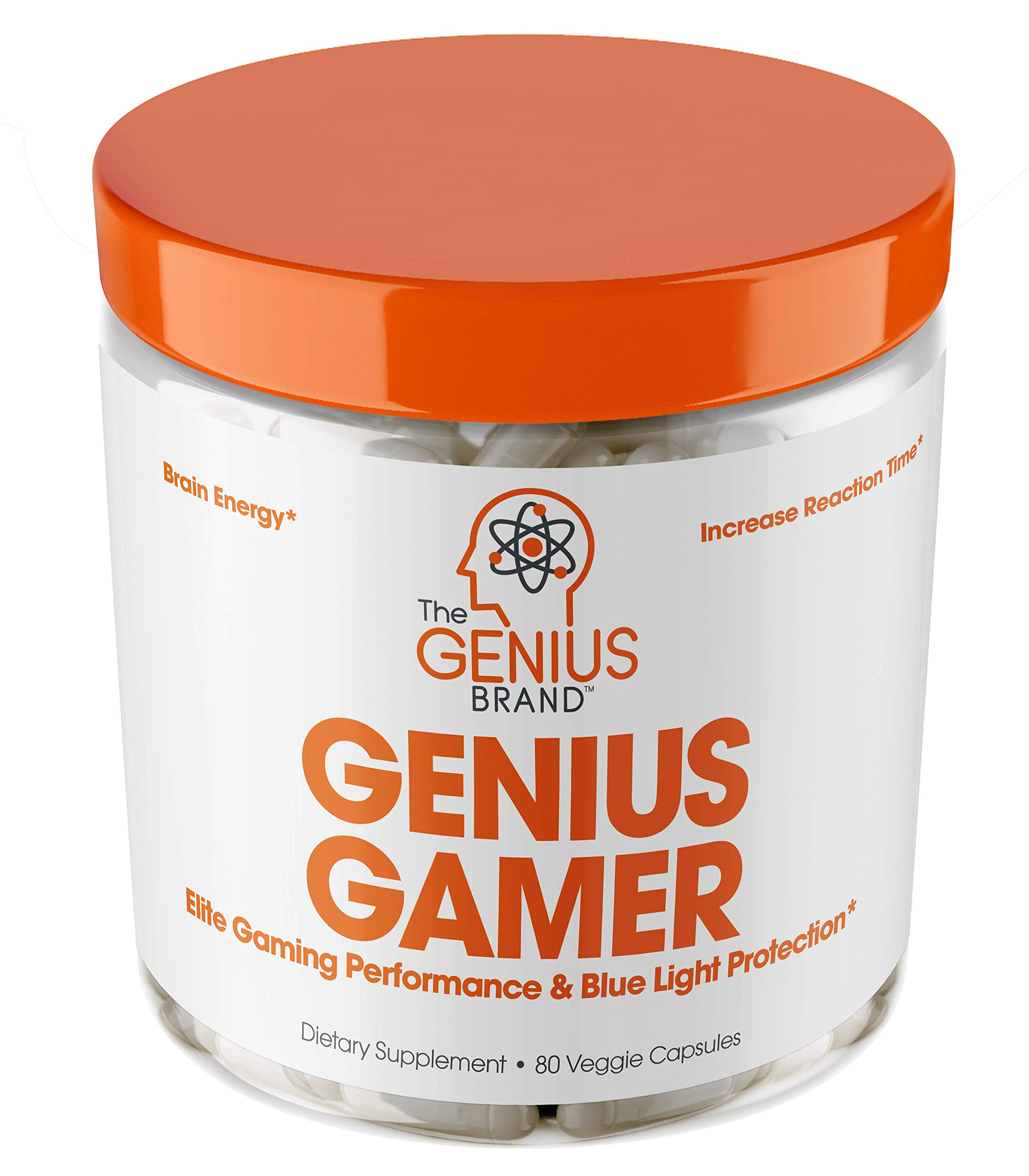 Genius Gamer - Elite Gaming Nootropic   Focus & Brain Booster Supplement - Boost Mental Clarity, Reaction Time, Energy & Concentration – Eye & Vision Vitamins w/Lutein, Support Eye Strain – 80 Pills