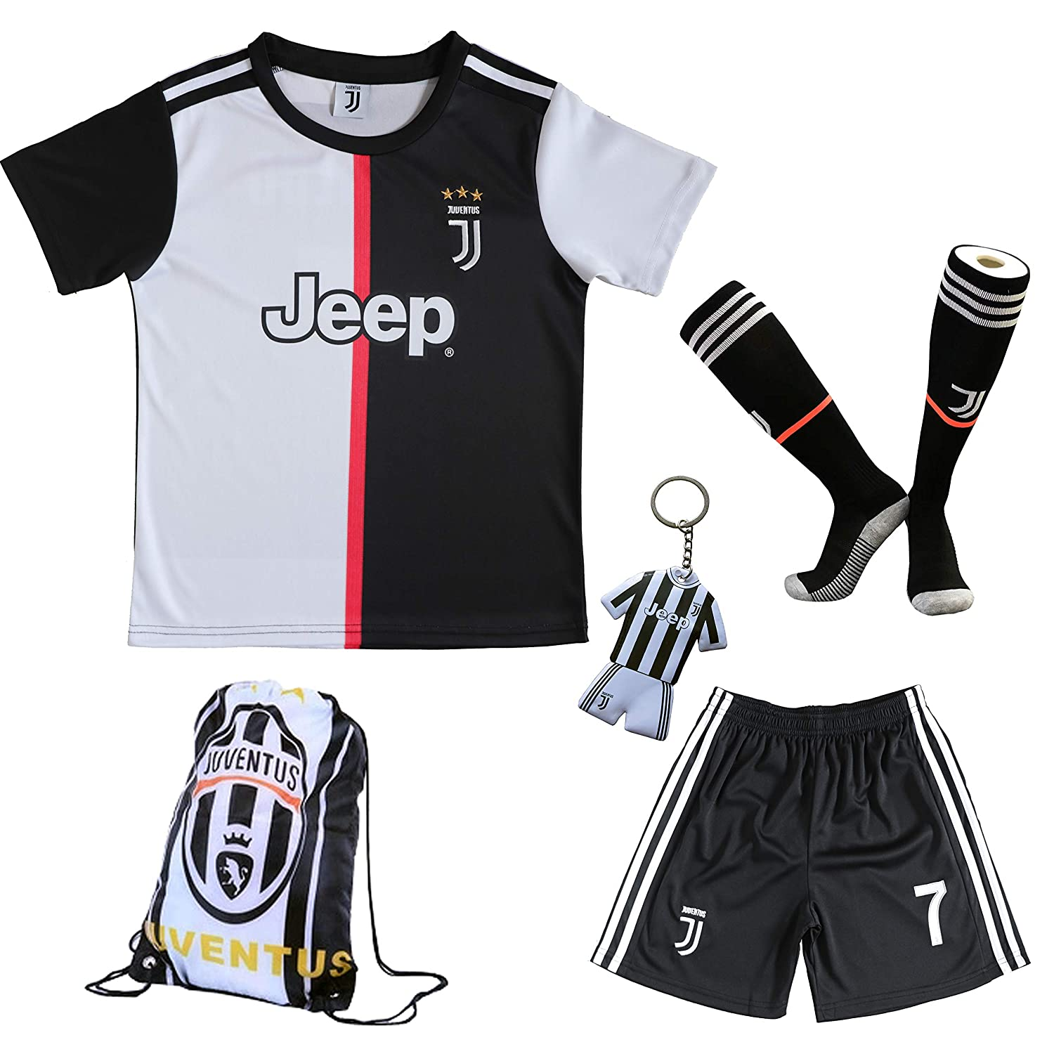 GamesDur 2019/2020 Cristiano Ronaldo #7 Home Football Soccer Kids Jersey & Short & Sock & Soccer Bag Youth Sizes