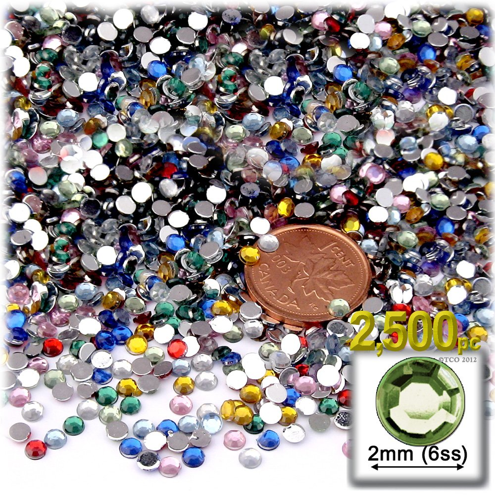 The Crafts Outlet 2500-Piece Round Tiny Rhinestones for Nails, 2mm, Multi Assortment RHN-2RN-FCT-MLT-2.5K