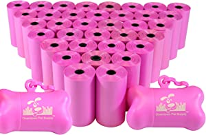 Downtown Pet Supply Dog Pet Waste Poop Bags with 2 Leash Clips and Dispensers (Bags: 520, 740, 1000, or 2200, Colors: Rainbow, Rainbow with Paw Prints, Blue, Black, Black Paw Prints, Pink, Purple)