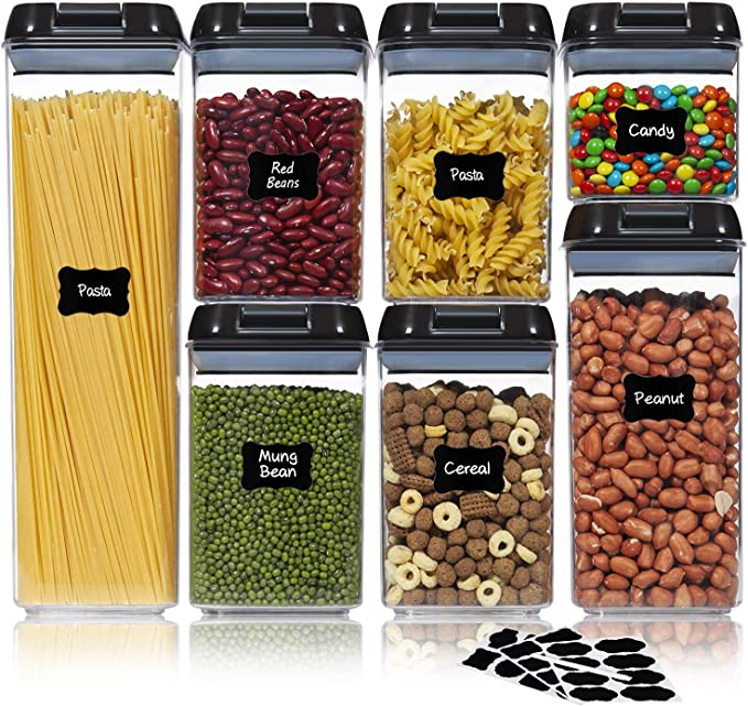 Amazon.com - Ecowaare Airtight Food Storage Containers with Lids, 7 Piece Plastic Cereal Cotainers Storage Set, Kitchen Pantry Organization Containers Ideal for Spaghetti, Cereal, Pasta, Nuts -