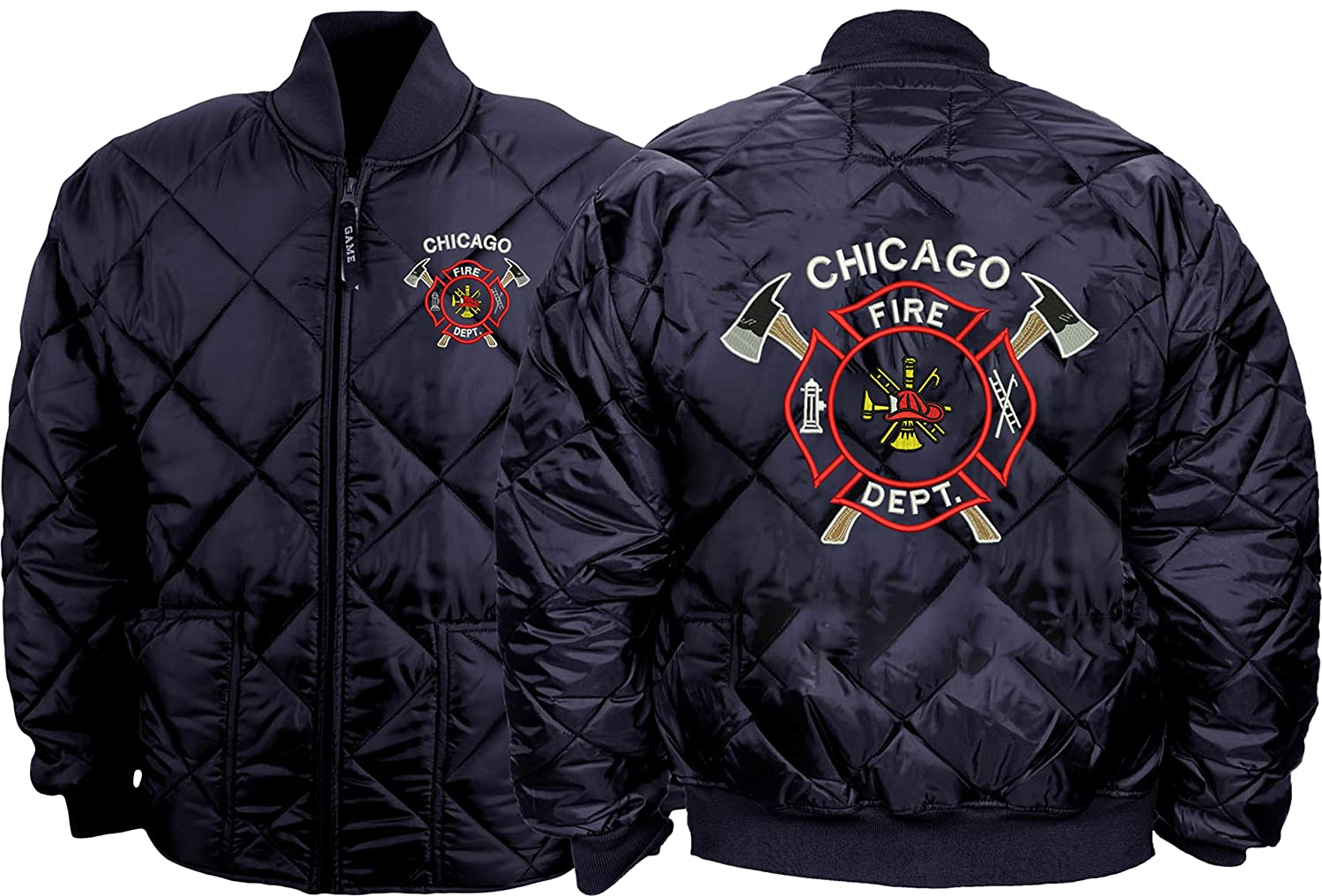 GAME Chicago Fire Department Quilted Jacket W/2-Sided Crossed Axes Logo As Seen on TV-1221-J