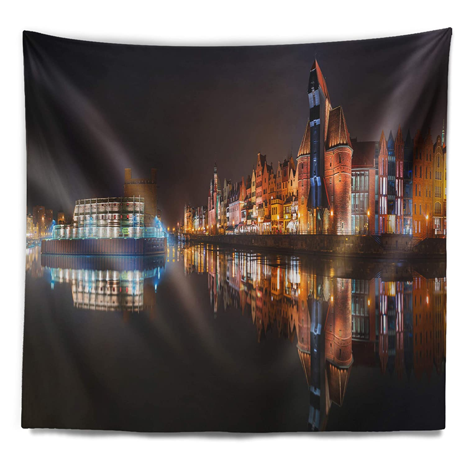 Designart TAP7584-39-32  Panorama of Gdansk Old Town Landscape Photography Blanket D/écor Art for Home and Office Wall Tapestry Medium 39 x 32 Created On Lightweight Polyester Fabric