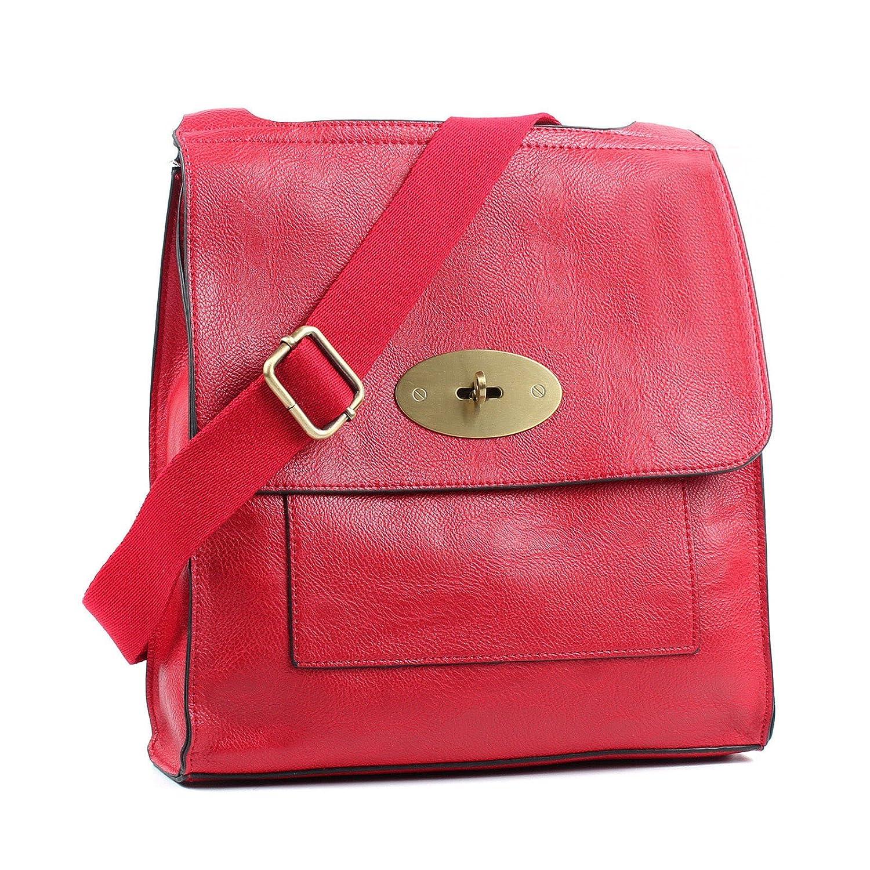 Aossta Faux Leather Large/Medium Twist Lock Cross Body Messenger Bag Turnlock Shoulder Bag Black)