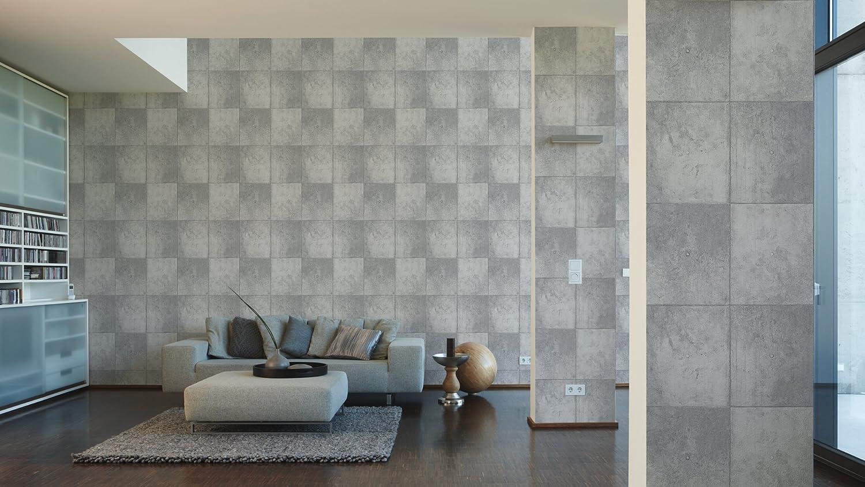 A.S Cr/éation papel pintado Authentic walls marr/ón amarillo gris 10,05 m x 0,53 m 302561