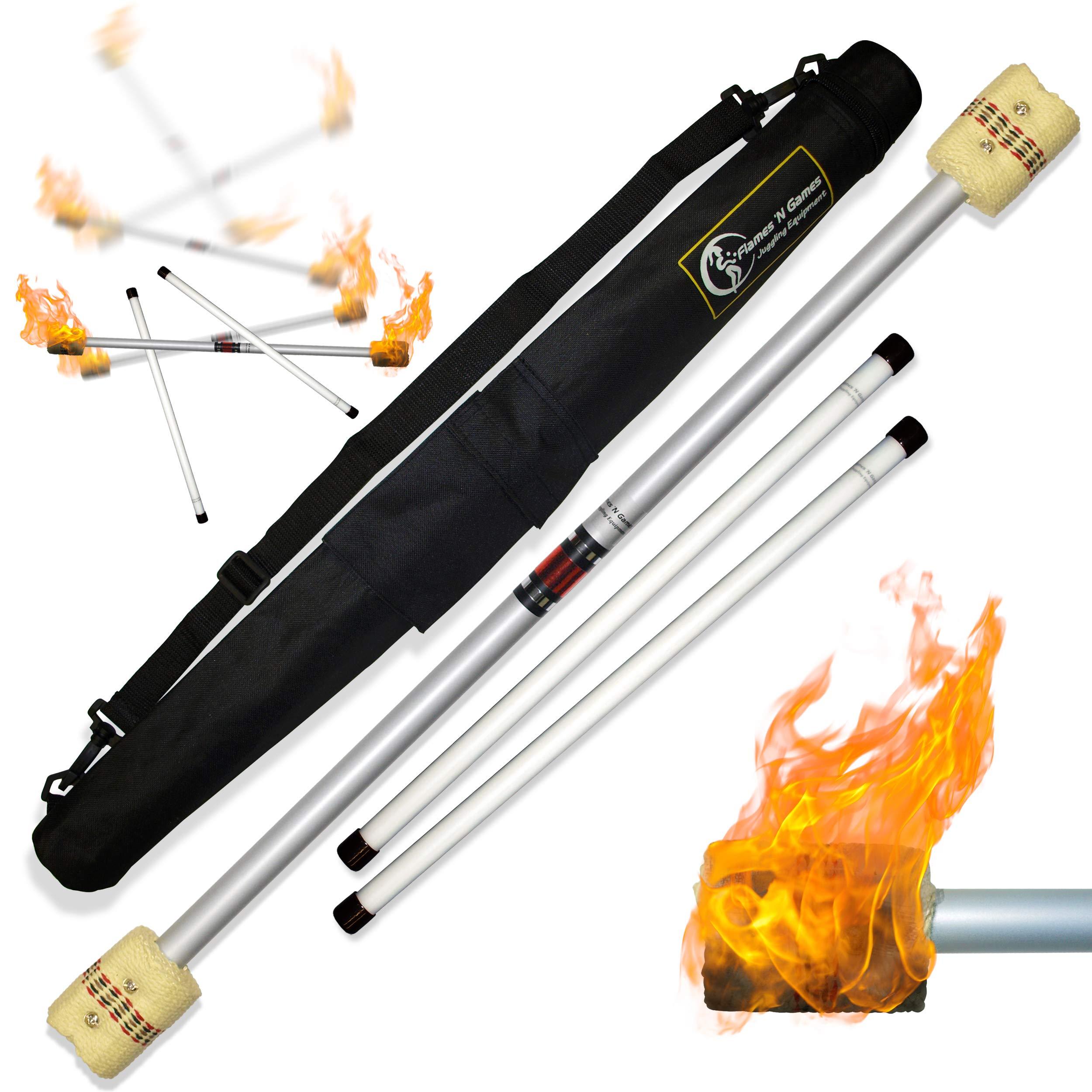 Flames N Games FIRE Devil Stick Set (65mm Wicks) WOODEN Sticks, and a Travel Bag! Juggling Devil sticks for Beginners & Pro's! by Flames N Games Fire Devil Sticks/Flower Sticks