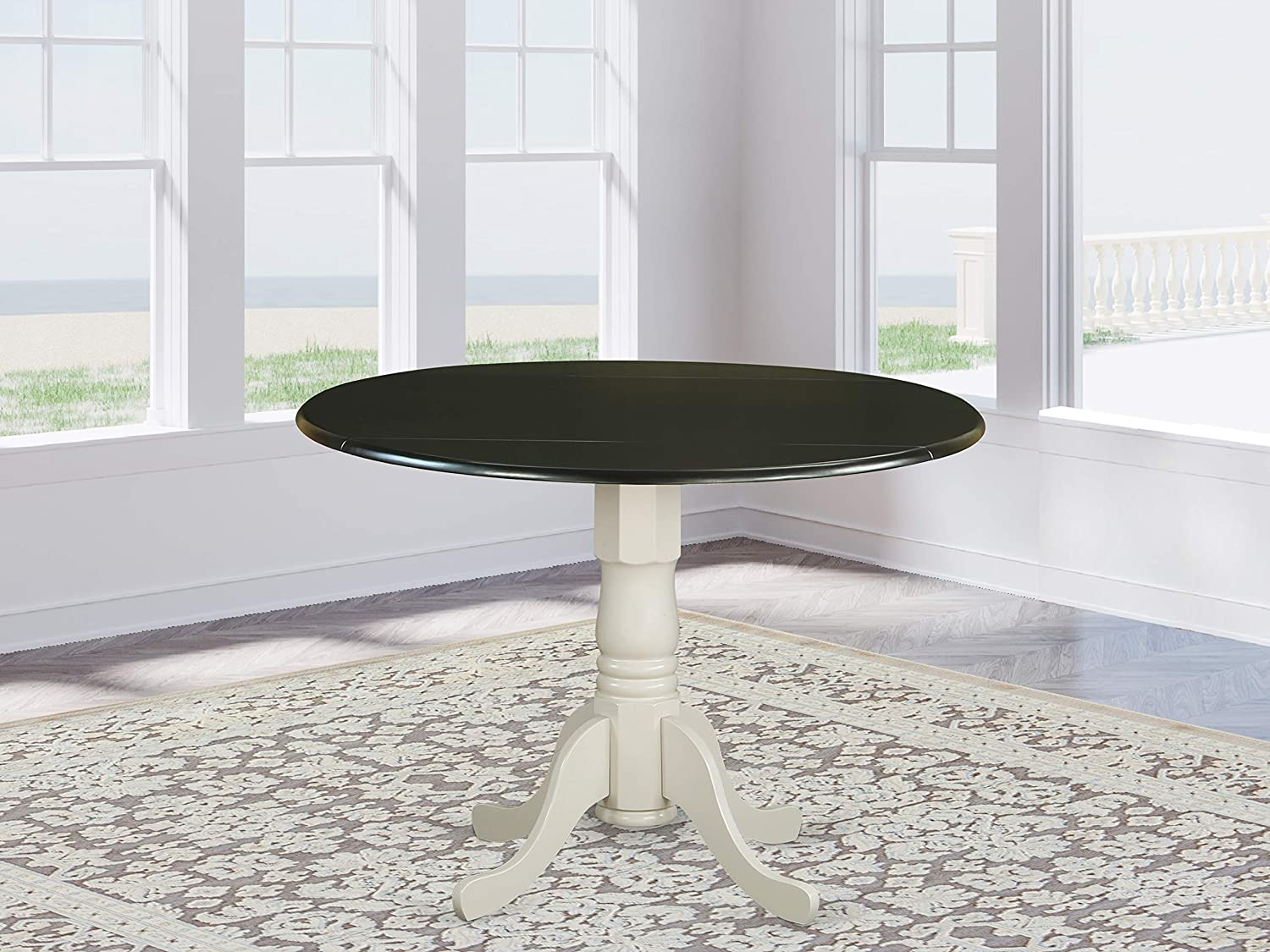 "East West Furniture DLT-BLW-TP Dublin Round Table with Two 9"" Drop Leaves - Black and Linen White Finish, Black & Linen"