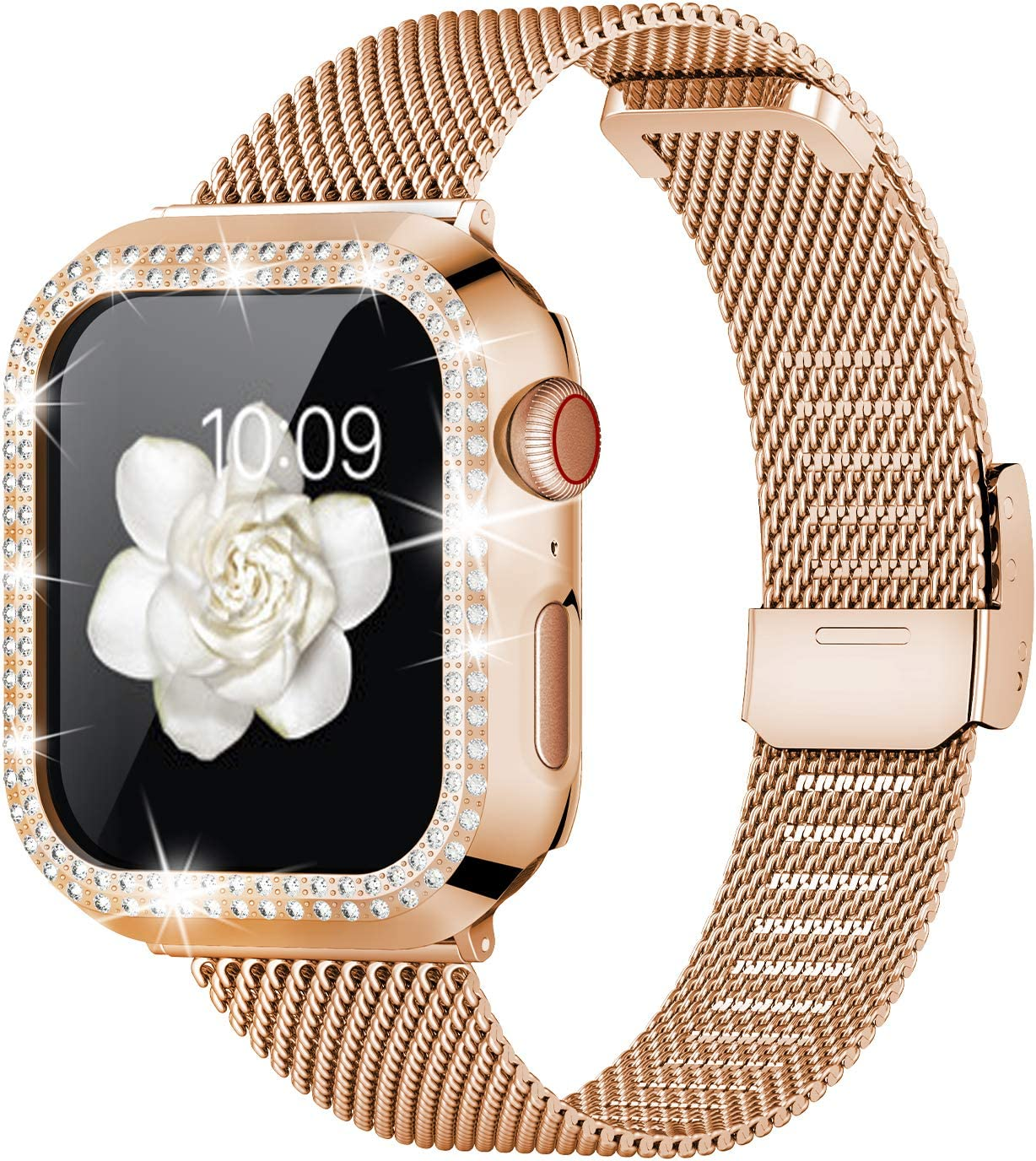 Goton Compatible for Apple Watch Band with Bling Case 38mm 40mm 42mm 44mm, Women Stainless Steel Mesh Strap with Luxury Diamond Protective Case for iWatch Series 5 4 3 2 1 (Rose Gold, 38mm)