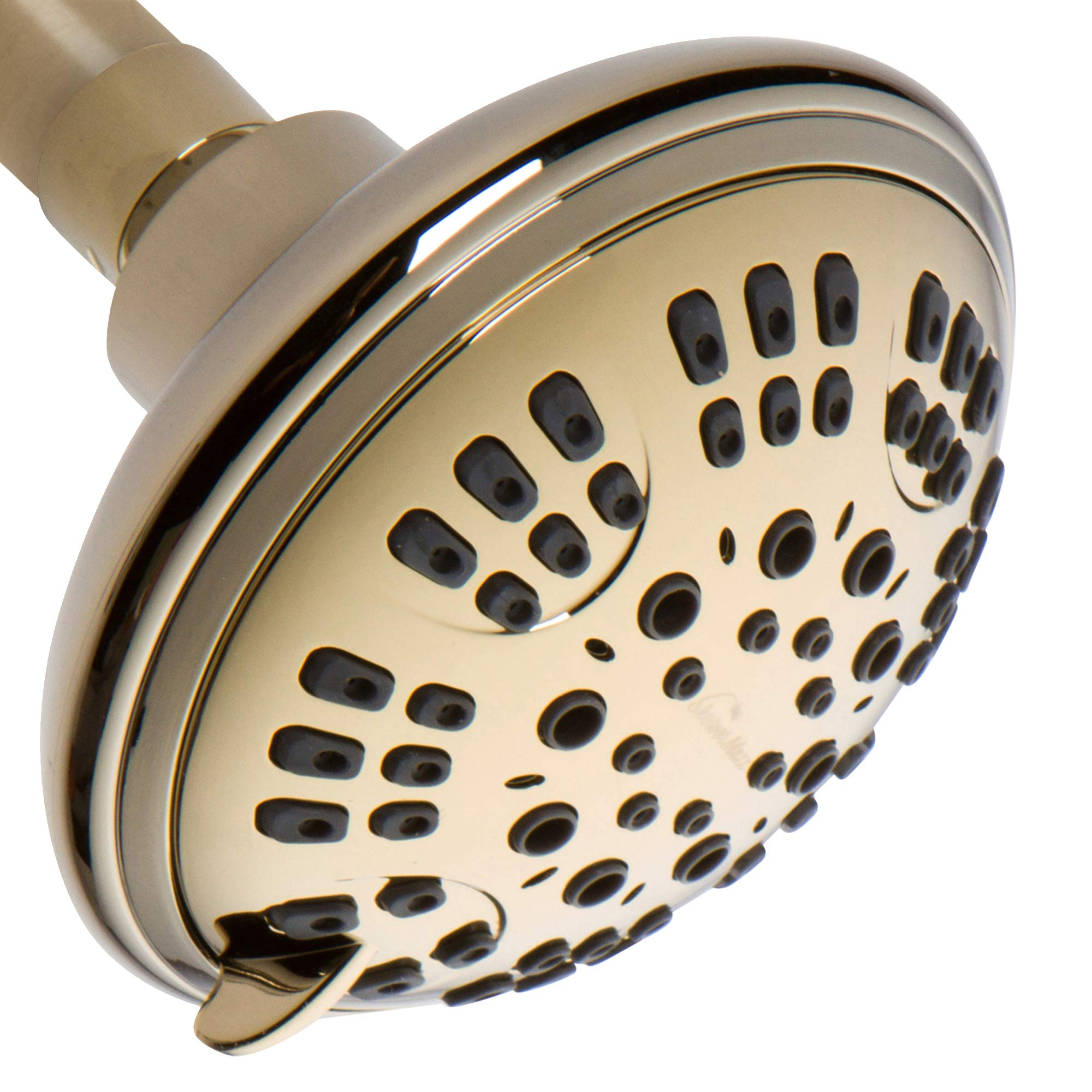 ShowerMaxx | 2.5 GPM Fixed Showerhead in Polished Brass Antique Finish |High Pressure Shower Head with 6 Setting Control | Power Massage | Self Cleaning Nozzels | Bathroom Wall Mount | Adjustable Head