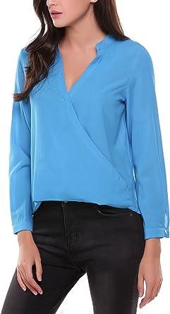 Meaneor Blusa de mujer con cuello en V con botones de encaje, parte superior de manga 3/4, camisa con puños, camiseta de manga larga
