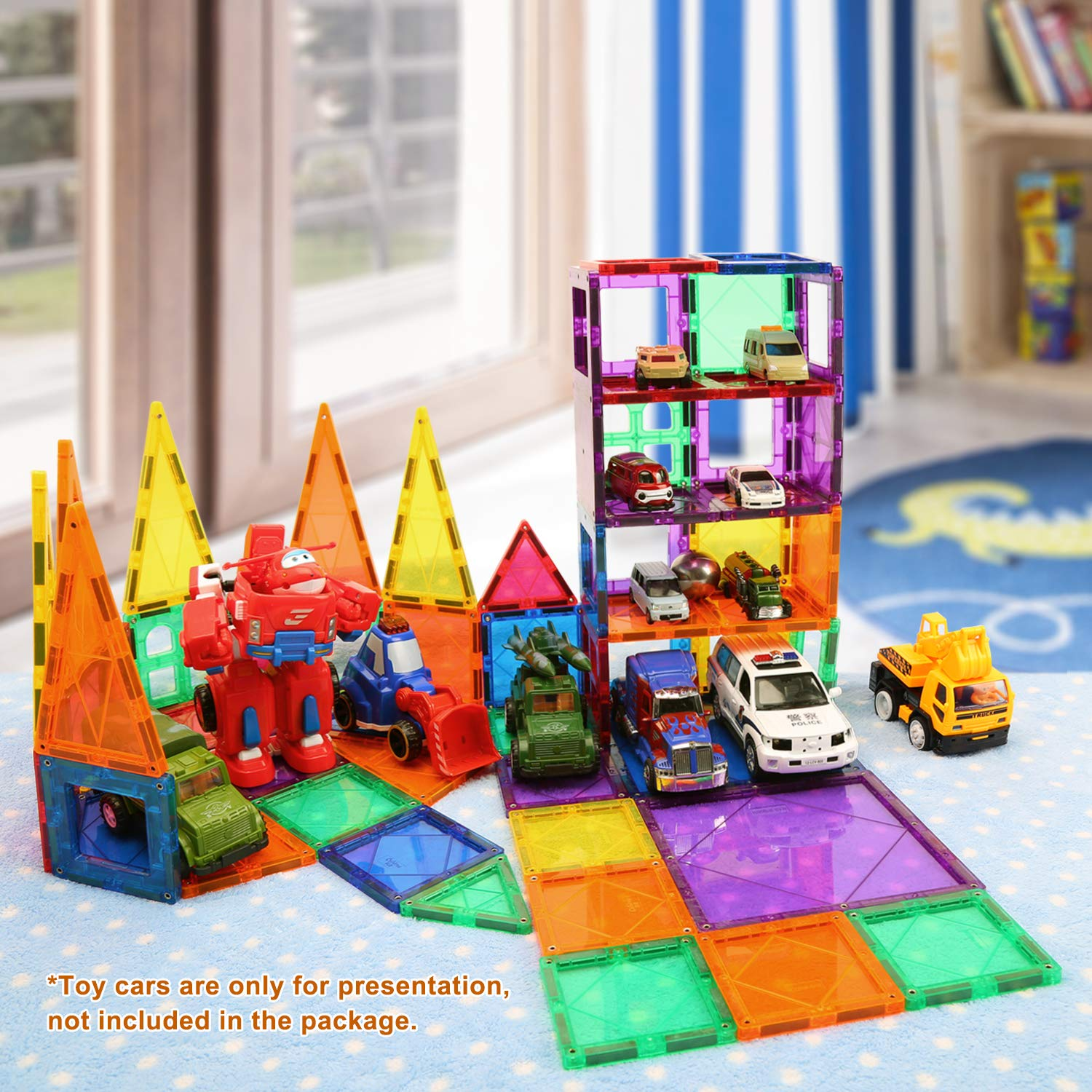 Children Hub 100pcs Magnetic Tiles Set - Educational 3D Magnet Building Blocks - Building Construction Toys for Kids - Upgraded Version with Strong Magnets - Creativity, Imagination, Inspiration by Children Hub (Image #1)