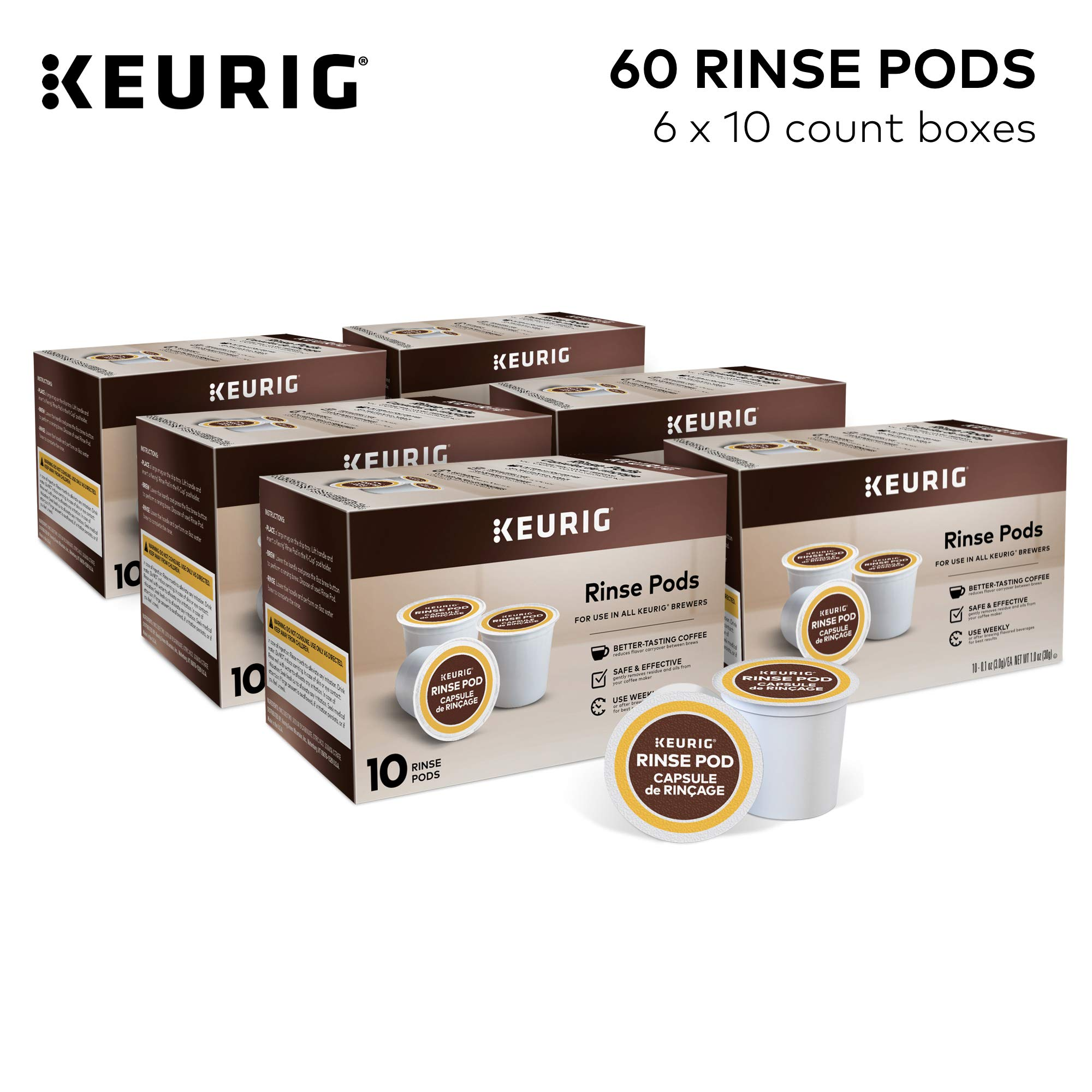 Keurig Rinse Pods Compatible with All Keurig K-Cup Pod Coffee Makers Reduces Flavor Carry-Over, 60 Count
