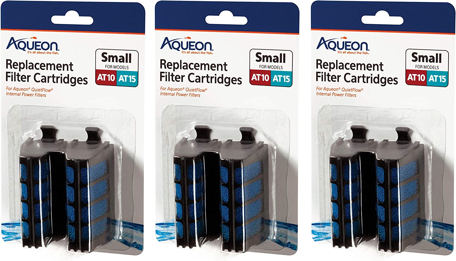 Aqueon 6 Pack of Replacement Filter Cartridges for QuietFlow Internal Power Filters, Small, for AT10 and AT15