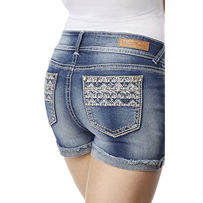 WallFlower Women's Juniors Luscious Curvy Bling Embellished Back Pockets Shorty Shorts (More Colors): Clothing