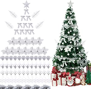 Sunnyglade 94 PCS Christmas Tree Ornaments Set with Glitter Poinsettia, Bows, Ribbons, Leaves & Assorted Decoration Ball for Xmas Tree Holiday Wedding Party Decorations (Silver White)