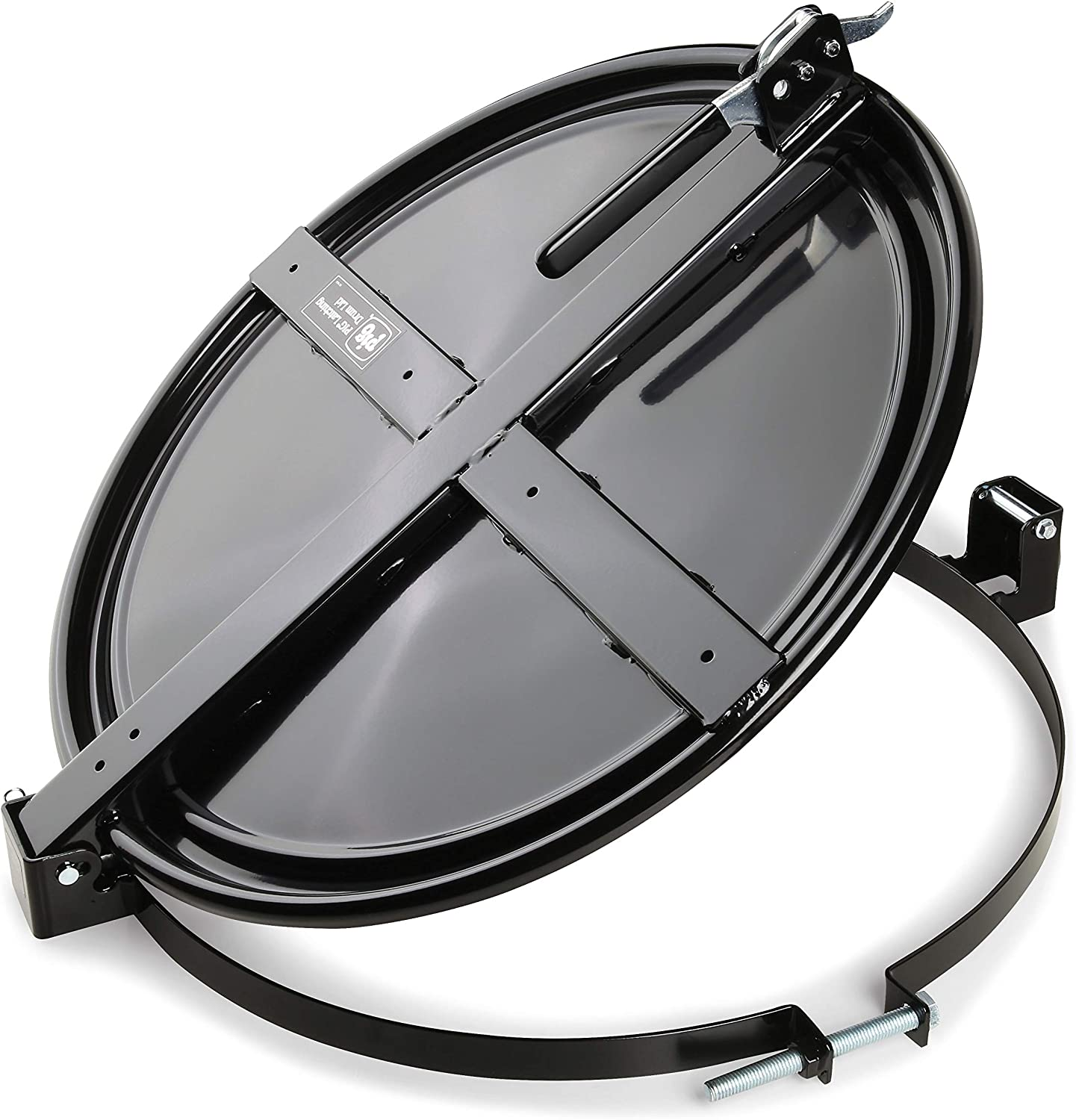 New Pig Latching Drum Lid | For 55 Gal Steel Drums | One-Hand Latch | Bolt-Ring | Locking Lid | Black | DRM659-BK
