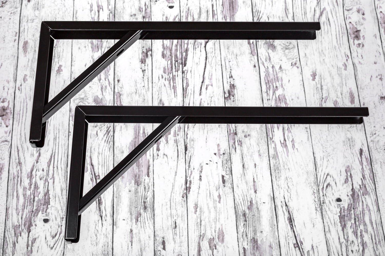revestimiento de acero para la pared, 400/x 30/x 180/mm, muebles herrajes de gedotec/® Estanter/ía Consola mesa negro para estantes de metal /ángulo de garant/ía de Herraje Consola montaje negro Apoyo