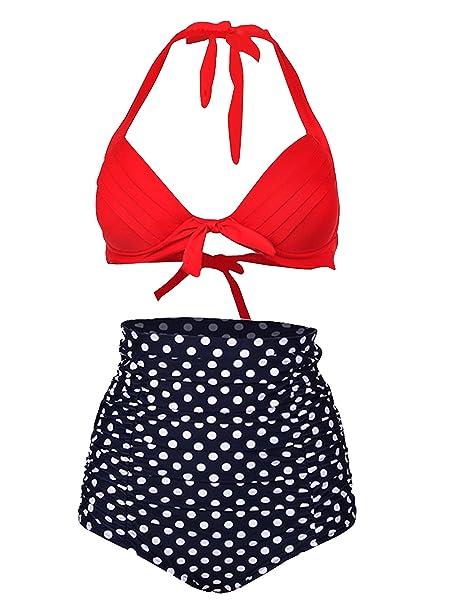 Amazon.com: Cintura alta Bikini para Womens, alipolo Retro ...